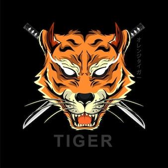 Testa di tigre in stile giapponese per il design della maglietta