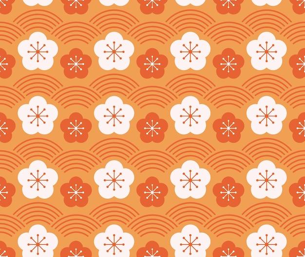 Stile giapponese retrò vintage seamless pattern prugna fiore e linea d'onda