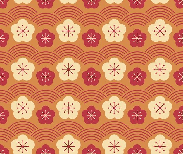 Stile giapponese retrò vintage seamless pattern prugna fiore e linea di scala dell'onda