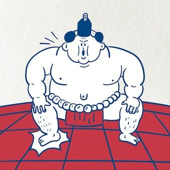 Vettore di lottatore di sumo giapponese
