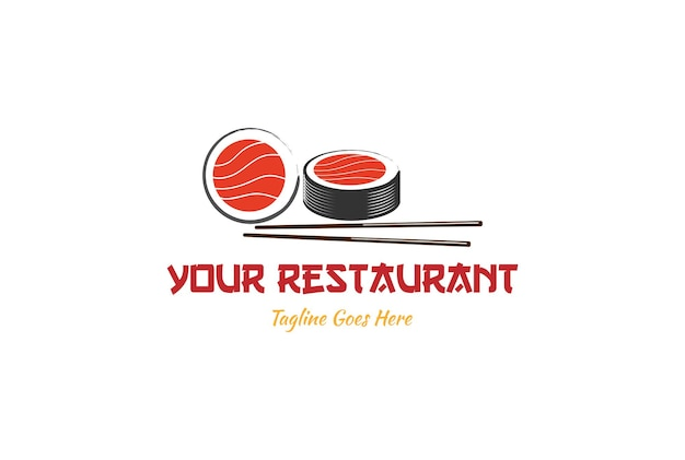 Sushi giapponese con bacchette per frutti di mare orientali logo design vector
