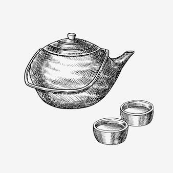 Tea party giapponese. teiera e ciotole tradizionali. schizzo inciso disegnato a mano per il menu. monocromo