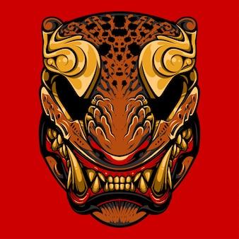 Illustrazione di tigre giapponese maschera, tatuaggio e design tshirt