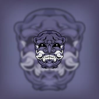 Illustrazione tradizionale giapponese della maschera del demone