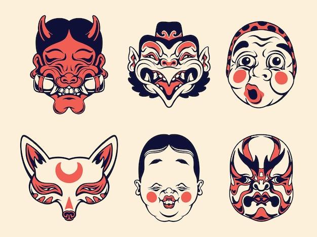 Collezione di maschere tradizionali giapponesi