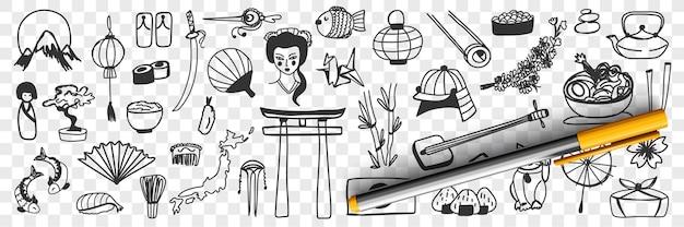 Insieme di doodle di simboli tradizionali giapponesi