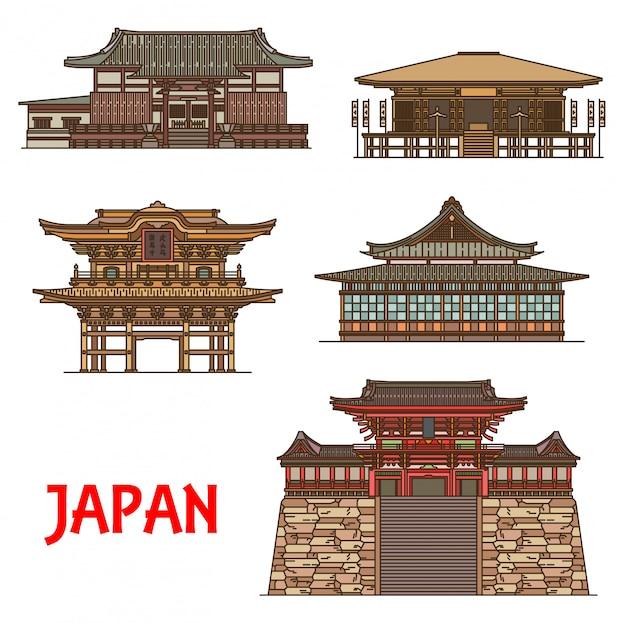 Linea sottile di punti di riferimento di viaggio giapponesi di edifici di religione buddista. templi buddisti di tokeiji, hokokuji e sugimoto-dera, santuario shintoista tsurugaoka hachimangu e tempio zen kencho-ji rinzai
