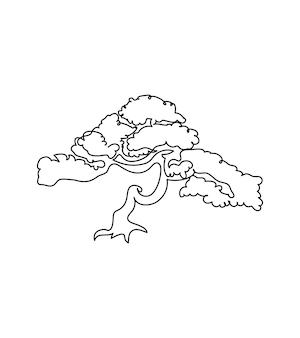 Bonsai di albero giapponese una linea arte disegno in linea continuo di piante erba albero legno natura