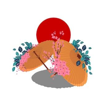 Ombrello giapponese. fiore di sakura. ramo di ciliegio con fiori e bocciolo. petali che cadono. colore piatto del fumetto di vettore isolato sul sole rosso.