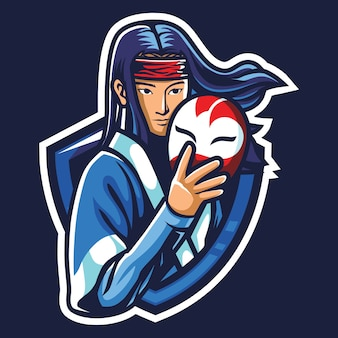 Illustrazione del logo esport guerriero giapponese