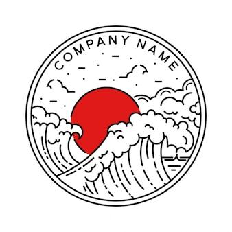 Distintivo di monoline all'aperto onda giapponese