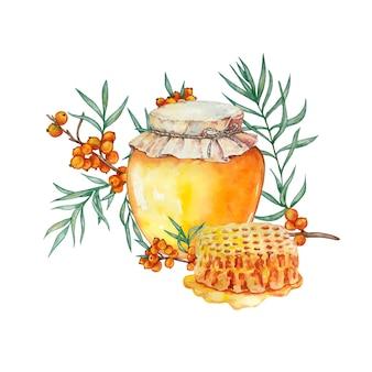 Vaso di miele, nido d'ape e e e ramo di olivello spinoso