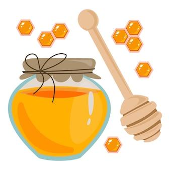 Un barattolo di miele a nido d'ape e un cucchiaio di legno per posare il primo piano insieme di clipart di dolci