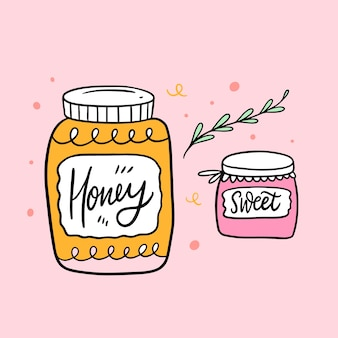 Vasetto di miele e vasetto dolce. schizzo disegnato a mano. calligrafia a pennello.
