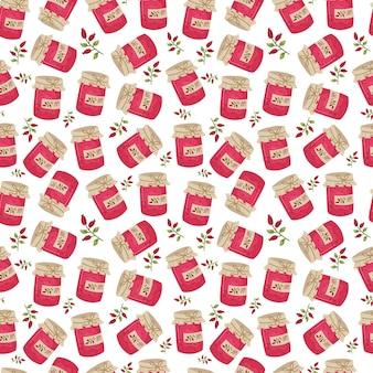 Barattolo di marmellata senza cuciture. texture accogliente e carina per tessuti, carta da imballaggio. illustrazione disegnata a mano di vettore