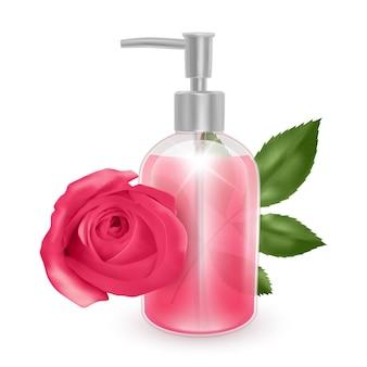 Vasetto di shampoo o prodotto cosmetico a base di sapone liquido