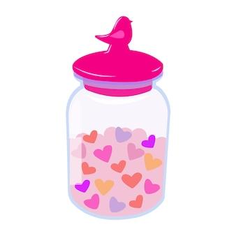Barattolo con coperchio con cuori bottiglia con cuori illustrazione romantica per san valentino su bianco