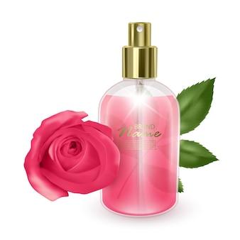 Vaso con profumo rosa su una rosa rossa