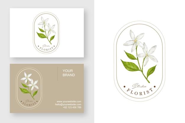Modello di progettazione di logo di fiore di gelsomino e biglietto da visita
