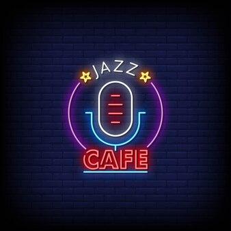 Testo di stile delle insegne al neon di logo di jazz cafe
