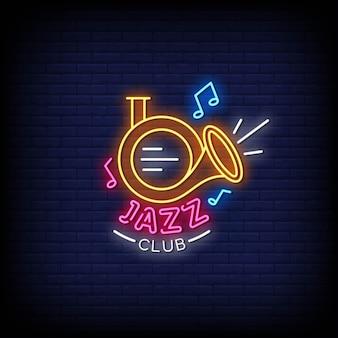 Testo di stile delle insegne al neon del logo del jazz club