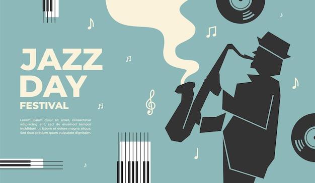 Disegno dell'illustrazione vettoriale del festival del giorno del jazz per la promozione di eventi di banner poster