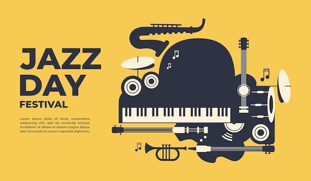 Manifesto del giorno del jazz e illustrazione vettoriale di banner per la promozione di eventi di poster di banner