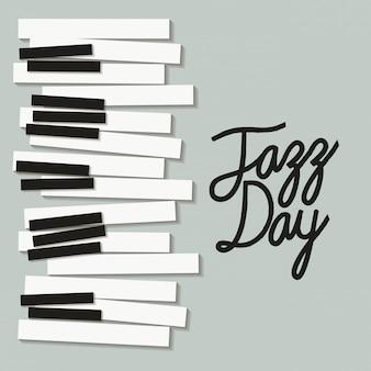 Manifesto di giorno di jazz con tastiera di pianoforte