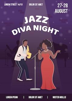 Modello piatto del manifesto notturno della diva jazz.