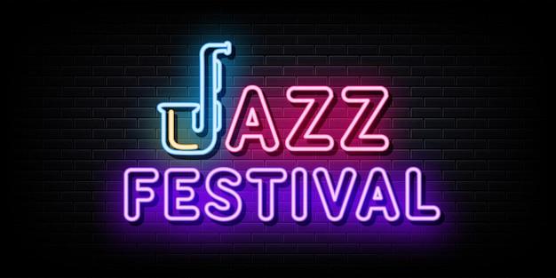 Insegne al neon di festival di jazz insegne al neon del modello di progettazione di vettore