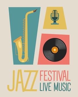 Iscrizione del manifesto del festival jazz con disegno di illustrazione vettoriale di sassofono e strumenti