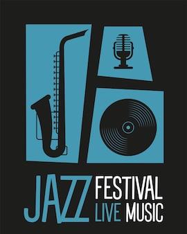 Manifesto del festival jazz con disegno di illustrazione vettoriale di sassofono e strumenti