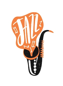 Lettering disegnato a mano jazz. sassofono con illustrazione di note musicali