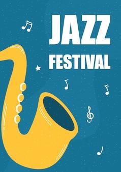 Poster di musica jazz fest con strumento di sassofono