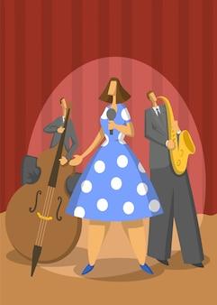 Trio di musica jazz. contrabbassista, sassofonista e cantante sul palco. illustrazione astratta.