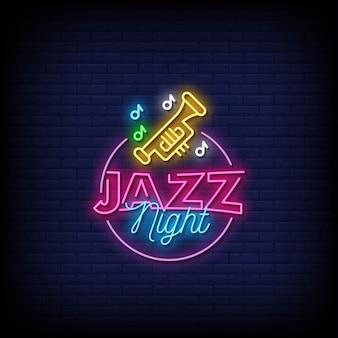 Testo di stile di insegne al neon di notte di jazz