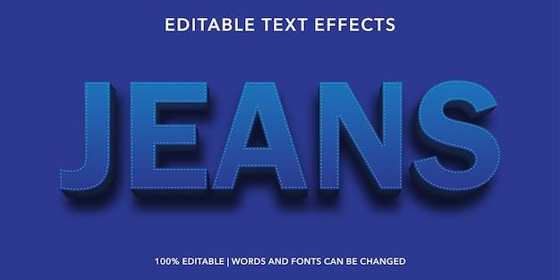 Jeans effetto di testo modificabile in stile 3d