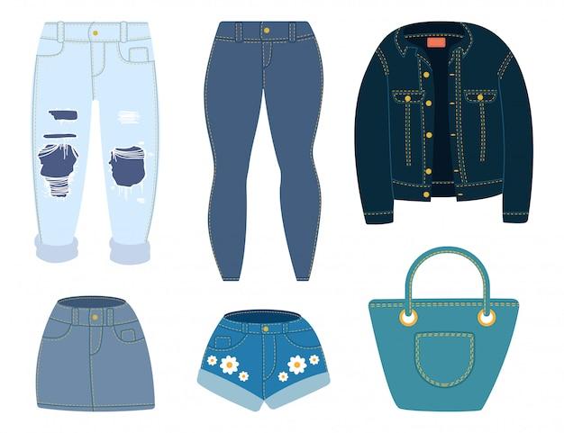 Jeans, giacca, pantaloncini, gonna e borsa. vestiti del denim del fumetto messi isolati su fondo bianco.
