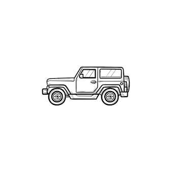Icona di doodle di contorni disegnati a mano di viaggio in jeep. viaggi estivi e vacanze, avventura e concetto di crossover