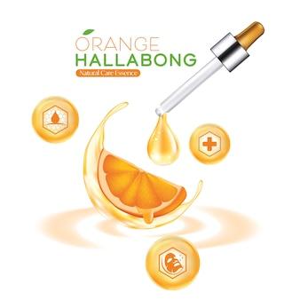 Modello di confezionamento cosmetico per la cura della pelle naturale hallabong arancione dell'isola di jeju