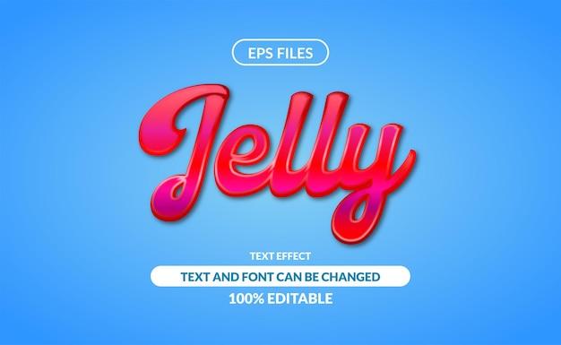 Effetto di testo modificabile gelatina. file eps. effetto salsa di ciliegie fluido lucido 3d marmellata rossa con sfondo blu