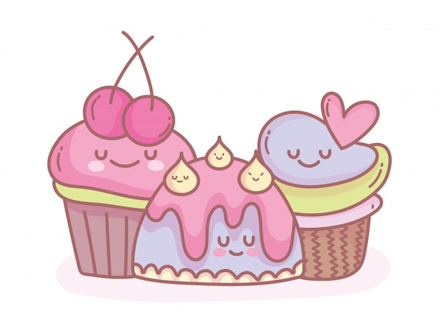 Gelatina e dolci cupcakes cibo per cartoni animati carino