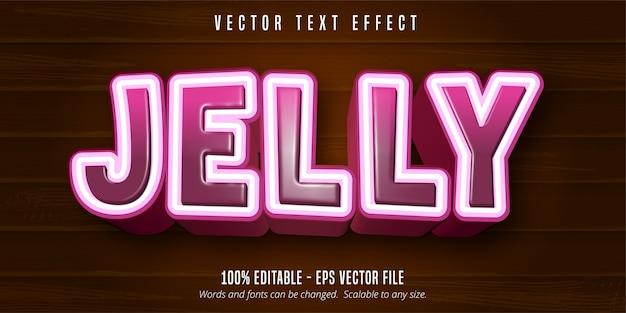 Gelatina di testo, effetto di testo modificabile in stile cartone animato su fondo in legno