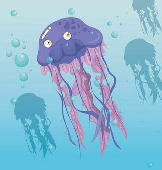 Medusa animale marino nell'oceano, abitante del mondo del mare, simpatica creatura subacquea, habitat marino