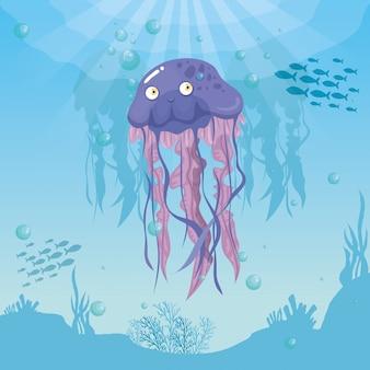 Medusa animale marino nell'oceano, con pesci ornamentali, abitanti del mondo del mare, simpatiche creature sottomarine, habitat marino