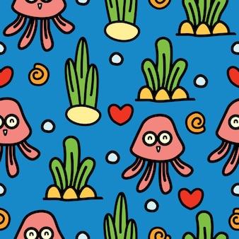 Meduse cartoon doodle seamless pattern design