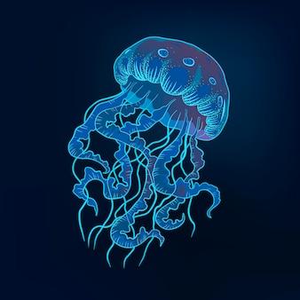 Illustrazione disegnata a mano di meduse. mondo subacqueo blu marino di vettore. vettore