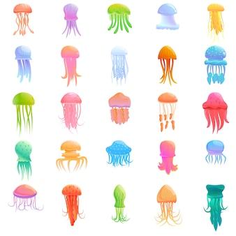 Set di icone di meduse. icone di meduse