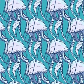 Modello disegnato a mano dell'oceano di meduse