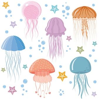 Modello di meduse, illustrazione vettoriale a colori su sfondo bianco.